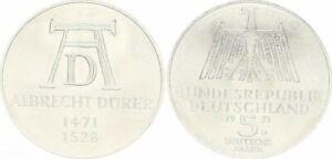 """German 5 Mark 1971 D. """"Albrecht Dürer"""" Silver, Jaeger 410, XF. to UNC.-"""