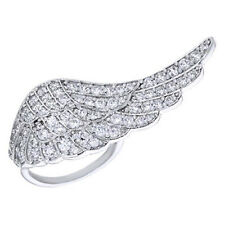 Round Cubic Zirconia Angel Wing Ring in 14K White Gold Over Sterling Silver