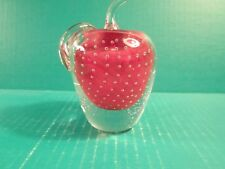 Heavy Clear Glass Apple With Red Center Paperweight
