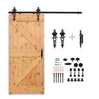 1.2—5.4m Sliding Barn Door Tracks & Rollers & Handles Hardware Kit for Wood Door
