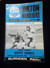 Bolton Wanderers Football Programme 27th December 1976 Nottingham Forest
