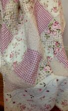 Shabby Chic French Country Throw Quilt Rug Blanket Pink Patchwork Baby Girls