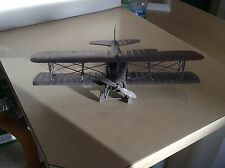 Vintage all metal Tin Bi-Plane Model Primed and ready to paint