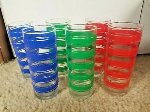 "Set of 6 Libbey Glass 6"" Tumbler Primmary Color Striped Drinking Glasses"
