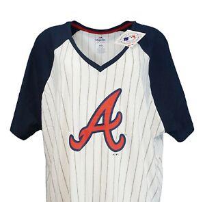 Atlanta Braves Women's Majestic MLB Pinstripe Raglan V Neck T Shirt Plus Sizes