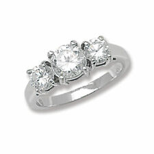 Stone Ring, Size N (7209) * Sterling Silver Cubic Zirconia Sparkling Three