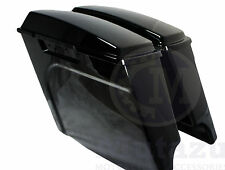 "Mutazu 4"" Black Fits Harley Stretched Extended bags Touring Hard Saddlebags"