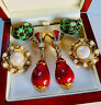 VINTAGE JEWELLERY MIXED LOT 1980s ENAMEL/CABOCHON/PEARL CLIP ON EARRINGS