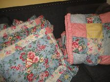 QUILT GALLERY PUFF PATCHWORK BLUE RED GINGHAM FLORAL (3PC) FULL/QUEEN QUILT SET