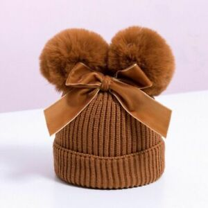 Winter Knitted Baby Hat Double Pompom Caps With Bow Cute Stylish Bonnets Beanies