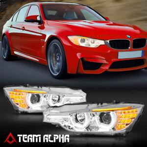 Fits 2012-2016 BMW F30/F31 {DUAL HALO/LED SIGNAL/DRL} Chrome Projector Headlight