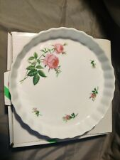 "Vintage Christineholm 9.5"" Scalloped Quiche Pie Baking Dish Porcelain pink rose"