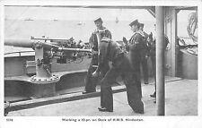 POSTCARD  SHIPS  HMS  HINDUSTAN  Working a 12 - pr on  Deck
