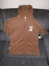 New Mens SAINT MORTA GOTHIC 3/4 Sleeve Zip Hoodie BROWN LARGE SIZE TIE UP BOTTOM