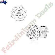 Pair of Silver Ion Plated Rose Blossom With Gem 316 Surgical Steel Stud Earrings