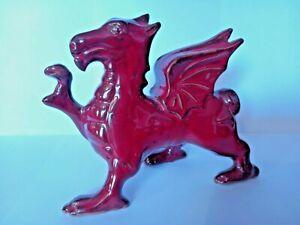 VINTAGE BANGOR WELSH POTTERY RED GLAZED WELSH DRAGON