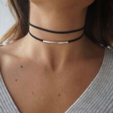 Gold Coloured Leather Choker Bending Tube Double Layer Necklace