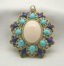 Beautiful Large Antique 14ct Gold Turquoise Diamond & Coral Brooch / Pendant
