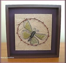 BUTTERFLY WALL ART BEADS AND WIRE ON CANVAS IN FRAME BIG SKY CARVERS FREE SHIP