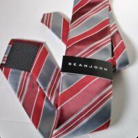 Sean John Tie Stripes Red Gray burgundy Skinny new