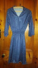 LADIES TRUE VINTAGE BLUE SPOTTY DRESS 36 CHEST