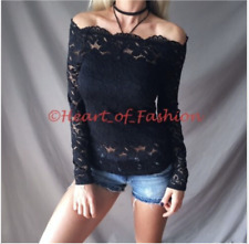 SEXY Sultry Sheer Floral Lace Overlay Lined Off Shoulder Short Sleeve Black Top