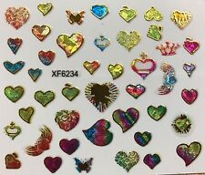 Nail Art 3D Decal Stickers Iridescent Mosaic Hearts XF6234