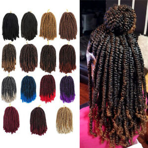 """UK 8"""" Afro Crochet Spring Twist Braids Hair Extension Passion Spring Twist Ombre"""