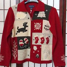 Charter Club 100% Lambswool Christmas Holiday Reindeer Cardigan Sweater M