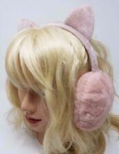 Minky Accessories Faux Fur Earwarmers with Cat Ears, Earmuffs, Blush Pink