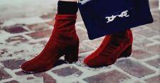 NEW ZARA SHOES ANKLE BOOTS HEELS VELVET RED CHERRY BURGUNDY SOCK STYLE UK 4 37