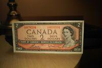 1954 $2 Dollar Bank of Canada Banknote CG0076594 Crisp