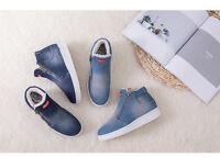 Women's Denim Double Zip Winter Warm Ankle Boots Flats Snow Casual Shoes SA