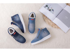 Women's Denim Double Zip Winter Warm Ankle Boots Flats Snow Casual Shoes SA