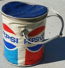1970's Round Pepsi Cola Can Cooler Vinyl Beach Thermos w/ handle - Nappy Smith
