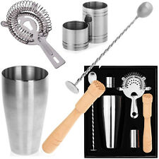 6PC COCKTAIL SHAKER GIFT SET + MIXER MAKING BAR KIT ACCESSORIES STAINLESS STEEL