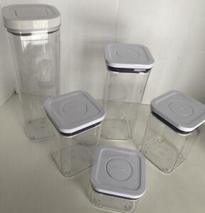 OXO Good Grips POP set 5 Square Storage Container 2.3qt, 1.7qt, (2) 1.1qt, .4qt