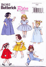 """BUTTERICK SEWING PATTERN 6302 18"""" RETRO/VINTAGE 50s DOLL CLOTHES, DRESS TOP COAT"""