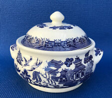 Ceramic Churchill Blue Willow Round Covered Vegetable Serving Dish Bowl