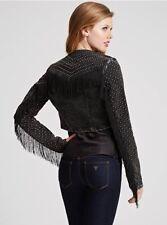 Guess Women's Studded Bolero Fringe Jacket In Washed Out Black Wash Size S