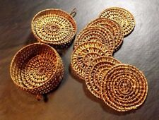 6 BAMBOO RATTAN COASTERS WITH MATCHING CASE