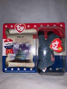 "McDonald's American Trio Lefty The Donkey 5"" Beanie Baby Bear-NRFP"
