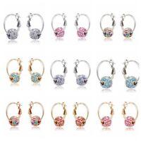 Women Lady Fashion Drop Dangle Crystal Hoop Ear Stud Earrings Jewelry Gift