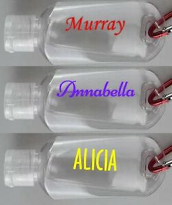 2 x Personalised Name/word Vinyl Sticker For sanitizer bottle up to 6 cm