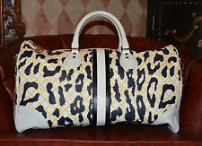 GWEN STEFANI! L.A.M.B ROWINGTON LEOPARD PRINT LEATHER! HUGE WEEKEND DUFFEL BAG!