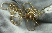 "Vintage Monet Gold Tone ME Charm Holder Pendant 30"" Serpentine Chain Necklace"