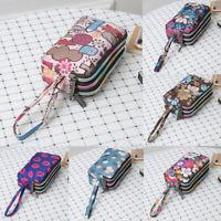Womens Phone Bag Short Wallet Three-Layer Zipper Purse Plus Size Coin Purse Case