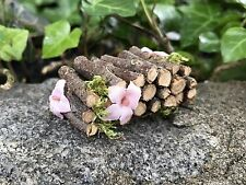 "Fairy Garden Dollhouse Miniature Camp Woodpile For Fire W/ Flowers 1"" scale 1:12"