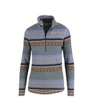Woolrich Mile Run Half Zip 2 Pullover Size LARGE Womens Blue Nordic Print L EUC