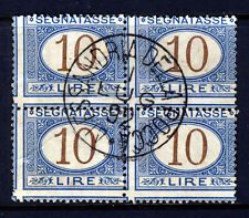 ITALY 1874 Postage Dues 10 Lire Brown & Blue A BLOCK OF FOUR  SG D38 VFU
